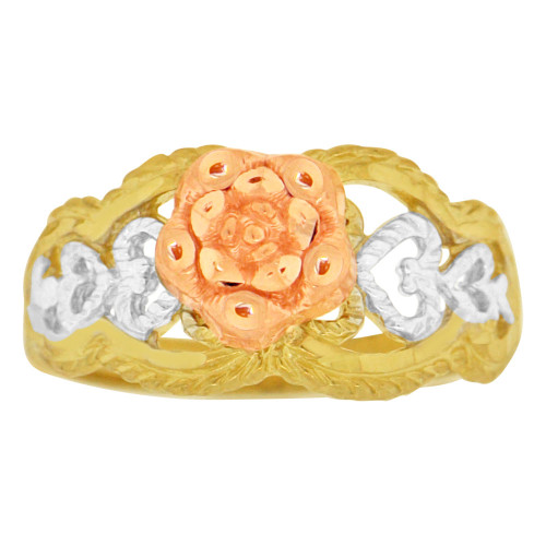 14k Tricolor Gold, Rose Flower Design Filigree Style Ring Sparkle Cut (R149-004)