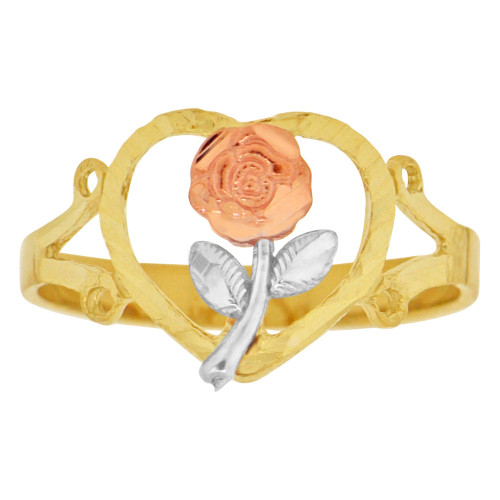 14k Tricolor, Rose Heart Design Ring Sparkle Cut (R149-006)