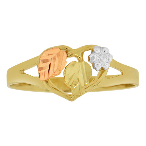14k Tricolor Gold, Small Leaves Leaf Design Ring Sparkle Cut (R149-007)