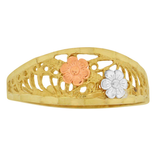 14k Yellow & Rose Gold, Small Flowers Filigree Design Ring Sparkle Cut (R149-008)