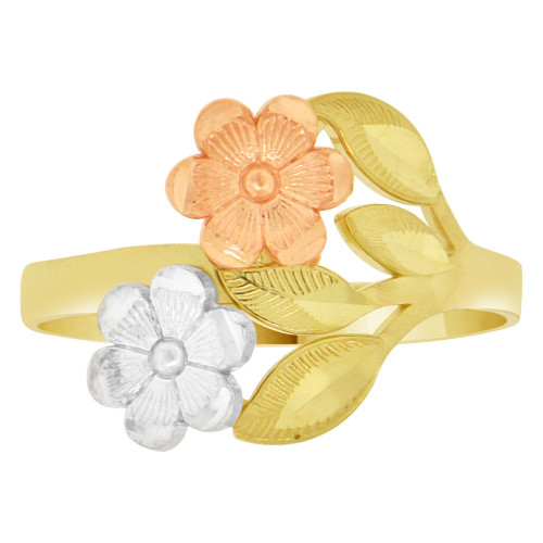14k Tricolor Gold, Double Flowers Design Ring Sparkle Cut (R149-009)