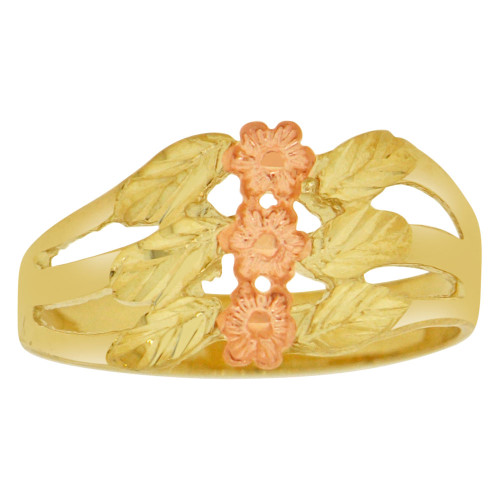 14k Yellow & Rose Gold, 3 Flowers in 1 Design Ring Sparkle Cut (R149-010)