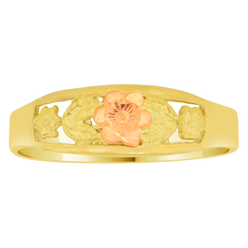 14k Yellow & Rose Gold, Flower Design Band Style Ring Sparkle Cut (R149-011)