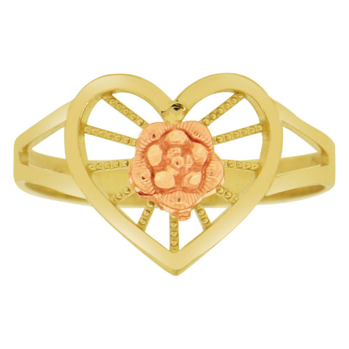 14k Yellow & Rose Gold, Flower Design Heart Shape Ring Sparkle Cut (R149-012)