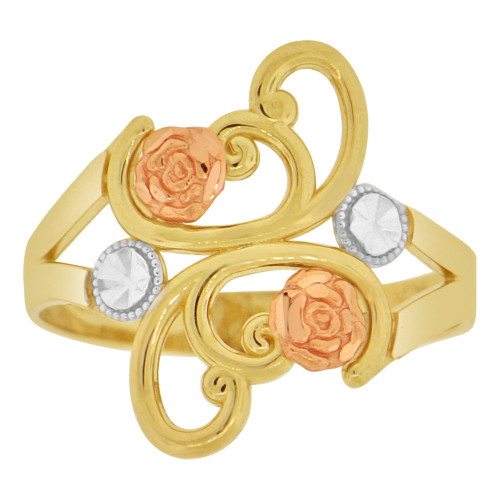 14k Tricolor Gold, Double Flowers Design Ring Sparkle Cut (R149-014)
