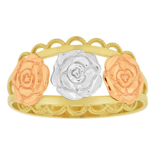14k Tricolor Gold, Three Rose Flowers Design Ring Sparkle Cut (R149-015)