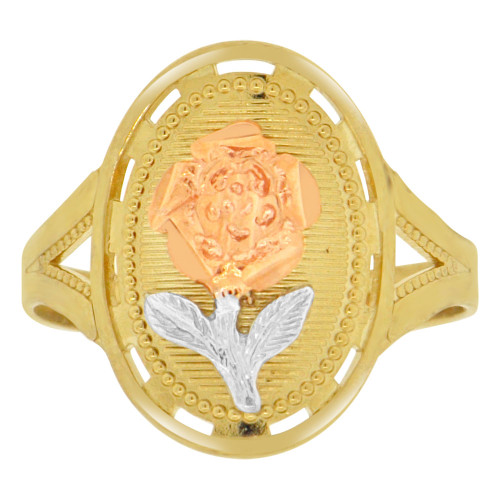 14k Tricolor Gold, Long Stem Rose Flower Design Ring Sparkle Cut (R149-016)