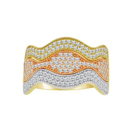 14k Tricolor Gold, Fancy 3 Layer Wavy Curve Ring Brilliant Cubic Zirconia (R121-016)