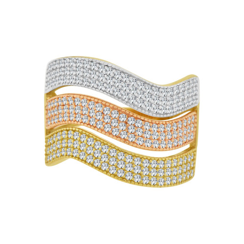 14k Tricolor Gold, 3 Layer Wavy Curve Ring Brilliant Cubic Zirconia (R121-017)