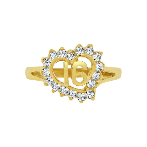 14k Yellow Gold, Small Heart Sweet 16 Ring Brilliant Cubic Zirconia (R123-015)