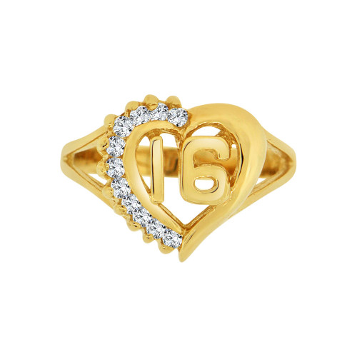 14k Yellow Gold, Heart Design Sweet 16 Ring Brilliant Cubic Zirconia (R123-016)
