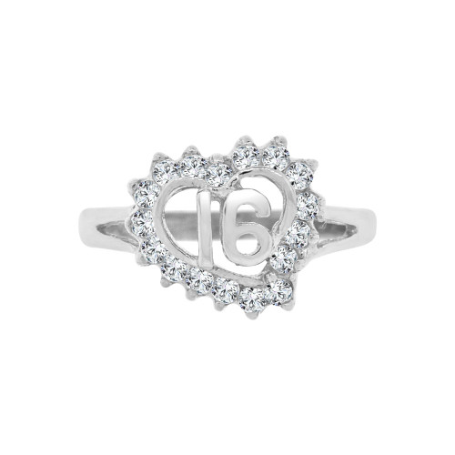 14k White Gold, Small Heart Sweet 16 Ring Brilliant Cubic Zirconia (R123-065)