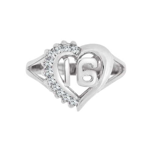 14k White Gold, Heart Design Sweet 16 Ring Brilliant Cubic Zirconia (R123-066)
