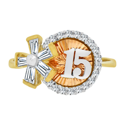 14k Tricolor Gold, Modern Design 15 Anos Quinceanera Ring Cubic Zirconia (R124-029)