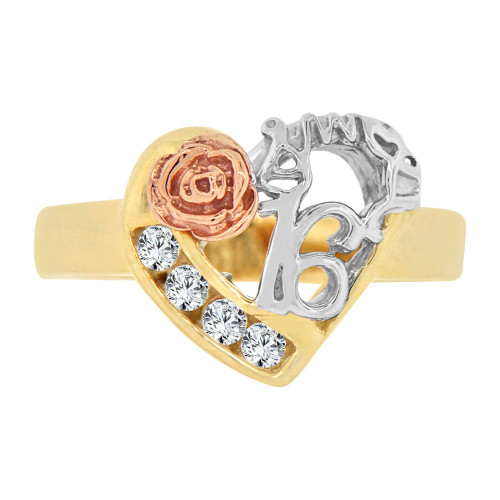 14k Tricolor Gold, Heart & Rose Sweet 16 Ring Cubic Zirconia (R125-005)
