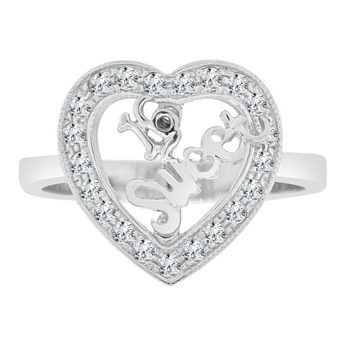 14k White Gold, Heart Design Sweet 16 Ring Cubic Zirconia (R125-051)
