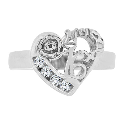 14k White Gold, Heart & Rose Design Sweet 16 Ring Cubic Zirconia (R125-055)
