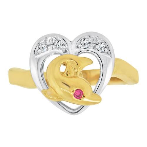14k Yellow & White Gold, Heart & Dolphin Ring Cubic Zirconia (R127-001)
