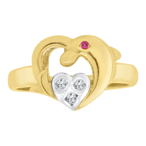 14k Yellow & White Gold, Heart & Dolphin Ring Cubic Zirconia (R127-002)