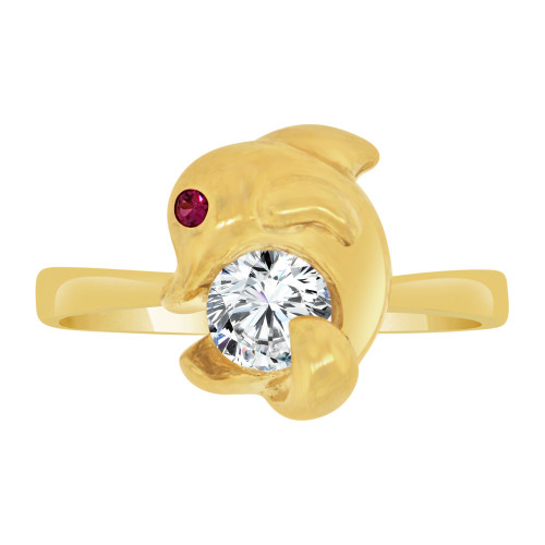 14k Yellow Gold, Small Whimsical Dolphin Ring Brilliant Cubic Zirconia (R127-003)