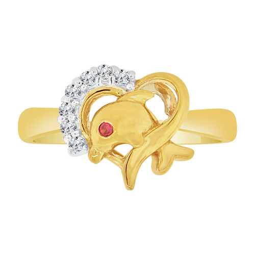 14k Yellow & White Gold, Dainty & Small Heart & Dolphin Ring Cubic Zirconia (R127-007)