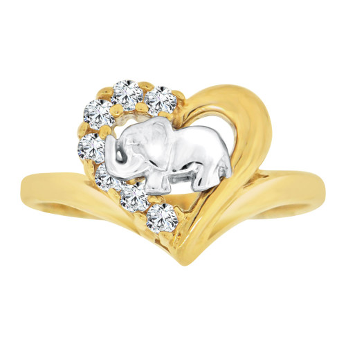 14k Yellow & White Gold, Small Heart & Elephant Lucky Ring Cubic Zirconia (R127-010)