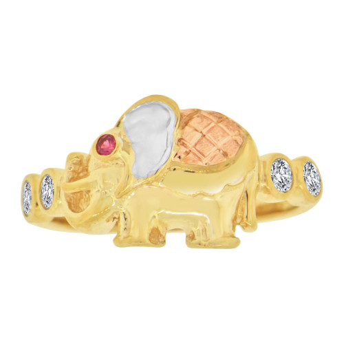 14k Tricolor Gold, Lucky Elephant Ring Cubic Zirconia (R127-011)