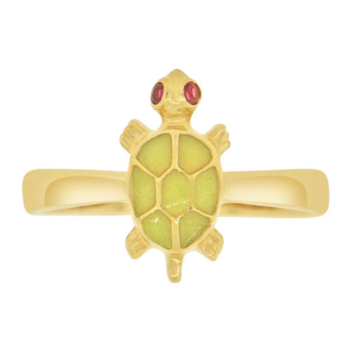 14k Yellow Gold, Green Turtle Tortoise Ring Cubic Zirconia (R127-017)