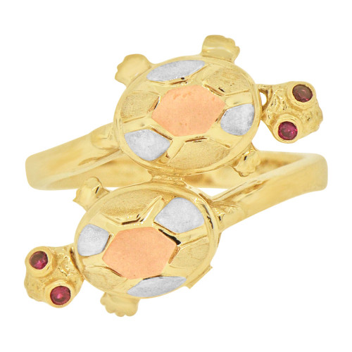 14k Tricolor Gold, Double Turtle Tortoise Ring Red Cubic Zirconia (R127-019)