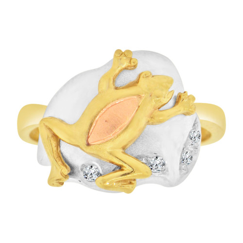14k Tricolor Gold, Rain Forest Frog Toad Ring Cubic Zirconia (R127-020)