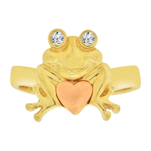 14k Yellow & Rose Gold, Frog Toad Heart Ring Cubic Zirconia (R127-021)