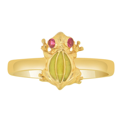 14k Yellow Gold, Small Green Resin Frog Toad Ring Created Red Cubic Zirconia (R127-023)