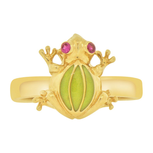 14k Tricolor Gold, Spinning Motion Green Frog Toad Ring Red Cubic Zirconia (R127-024)