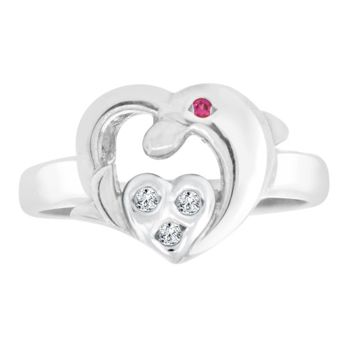 14k White Gold, Small Heart & Dolphin Ring Cubic Zirconia (R127-052)