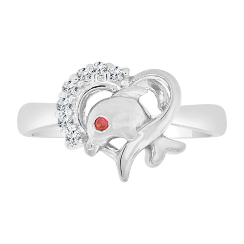 14k White Gold, Small Heart & Dolphin Ring Red Cubic Zirconia (R127-057)