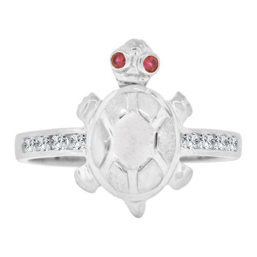 14k White Gold, Small & Dainty Turtle Tortoise Ring Cubic Zirconia (R127-068)