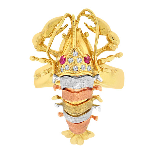 14k Tricolor Gold, Stunning Fancy Lobster Ring Cubic Zirconia (R128-002)