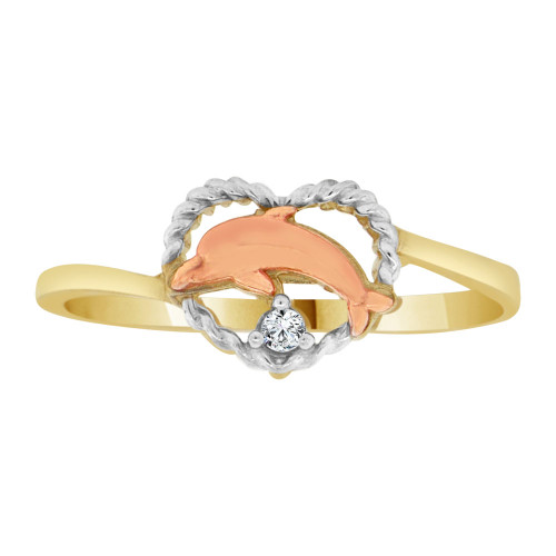 14k Yellow & Rose Gold, Small Heart & Dolphin Ring Brilliant Cubic Zirconia (R128-004)