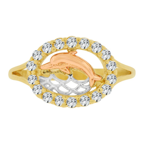 14k Yellow & Rose Gold, Oval Dolphin Ring Brilliant Cubic Zirconia (R128-005)