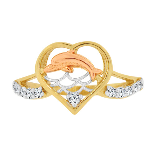 14k Yellow & Rose Gold, Small Heart & Dolphin Ring Brilliant Cubic Zirconia (R128-006)