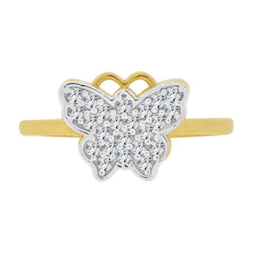 14k Yellow Gold White Rhodium, Small Butterfly Ring Brilliant Cubic Zirconia (R128-008)
