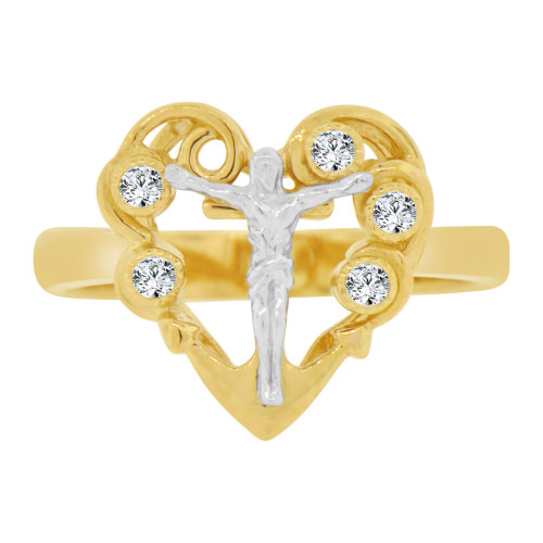 14k Yellow & White Gold, Heart & Christ Crucifix Religious Ring Cubic Zirconia. (R128-010)