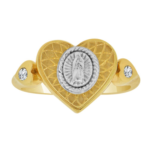 14k Yellow & White Gold, Heart Virgin Mary Religious Ring Cubic Zirconia (R128-012)