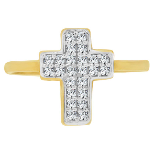 14k Yellow Gold White Rhodium, Cross Religious Ring Brilliant Cubic Zirconia (R128-014)