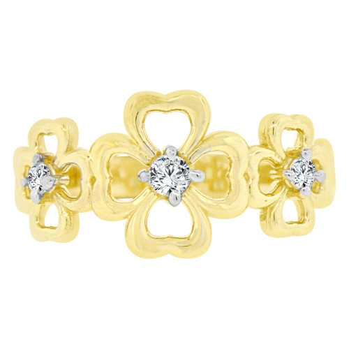 14k Yellow Gold, Three Four Leaf Clover Design Ring Cubic Zirconia (R128-015)