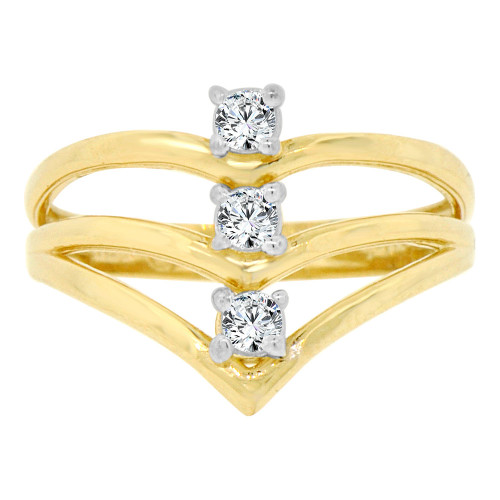14k Yellow Gold, Chevron Design 3 Layer V Ring Cubic Zirconia (R128-017)