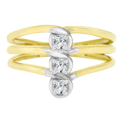 14k Yellow Gold, Classic Design 3 Layer Ring Cubic Zirconia (R128-018)