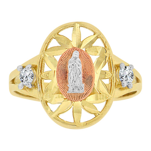 14k Tricolor Gold, Virgin Mary Religious Ring Oval Shape Cubic Zirconia (R128-019)