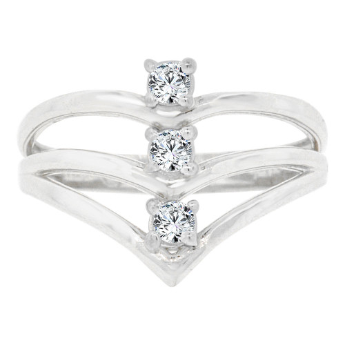14k White Gold, Chevron Design 3 Layer V Ring Cubic Zirconia (R128-067)
