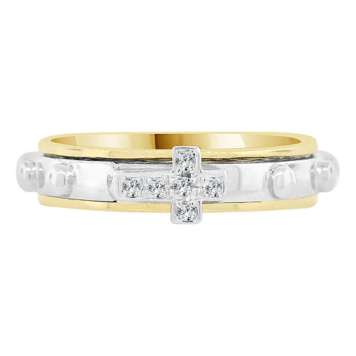 14k Yellow & White Gold, Rosary Prayer Band Ring Cross & Cubic Zirconia (R128-770)